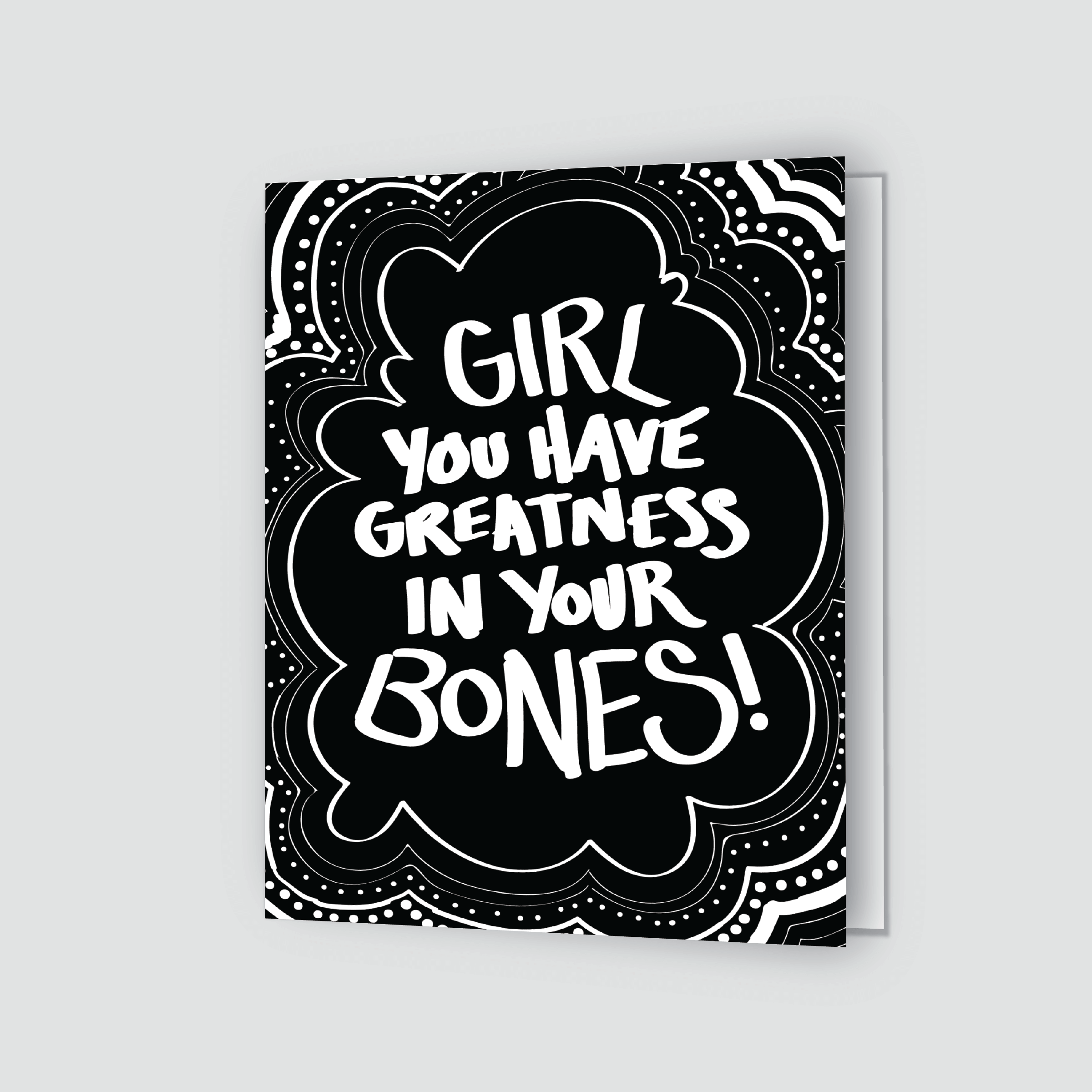 Girl Greatness Greeting Card Black Shannon Cohen