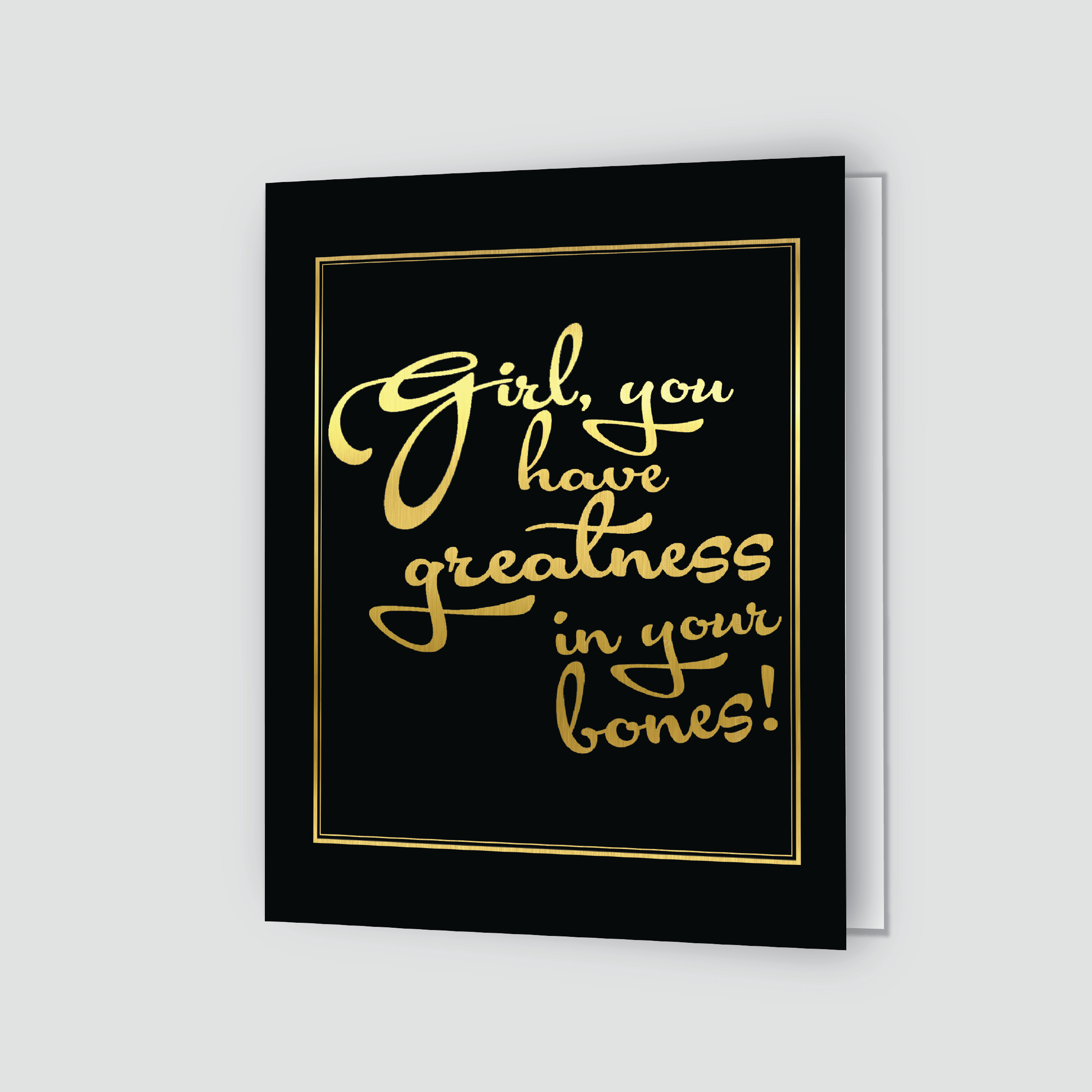Girl Greatness Greeting Card Goldblack Shannon Cohen