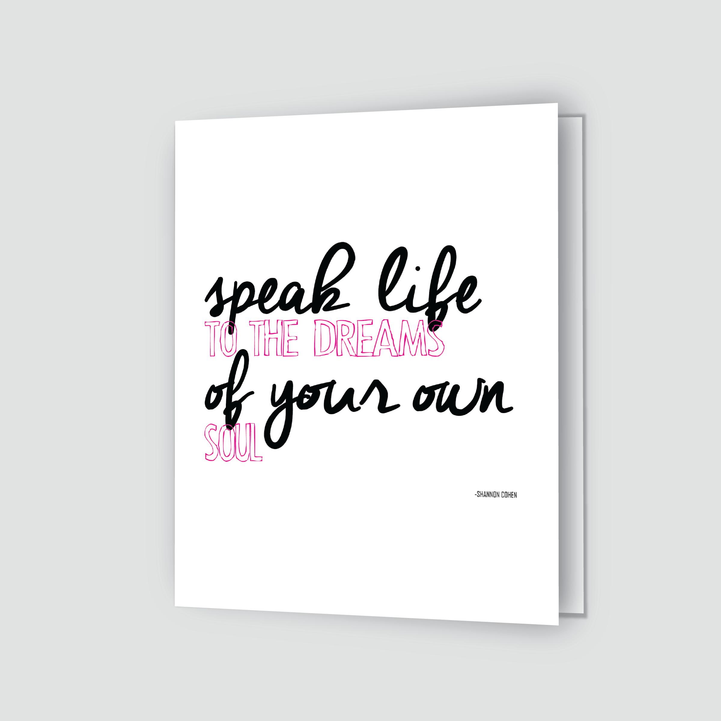 Speak Life Greeting Card Pinkwhite Shannon Cohen
